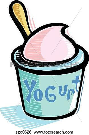 Stock Illustration of A drawing of a cup of yoghurt szo0626.