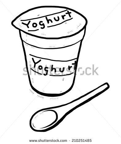 Yogurt Cup Spoon Cartoon Vector Illustration Stock Vector.