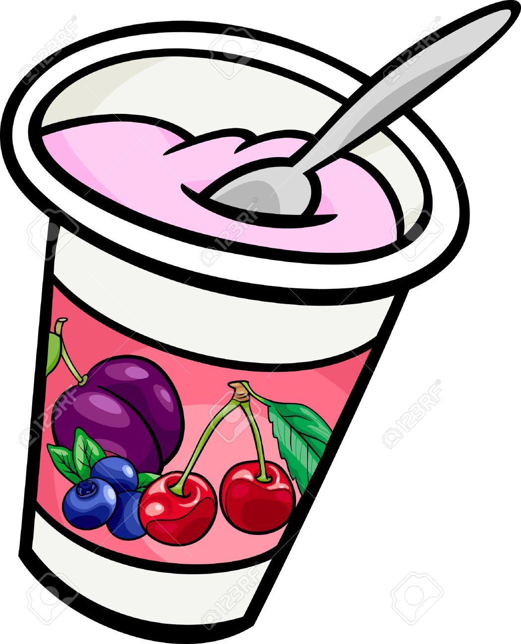 Fruit And Yogurt Clipart.