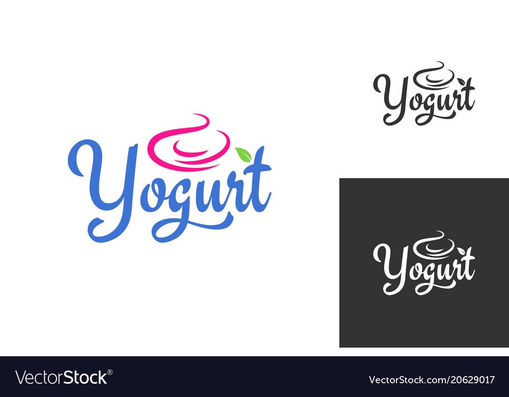 Yogurt cream logo frozen yogurt label set.