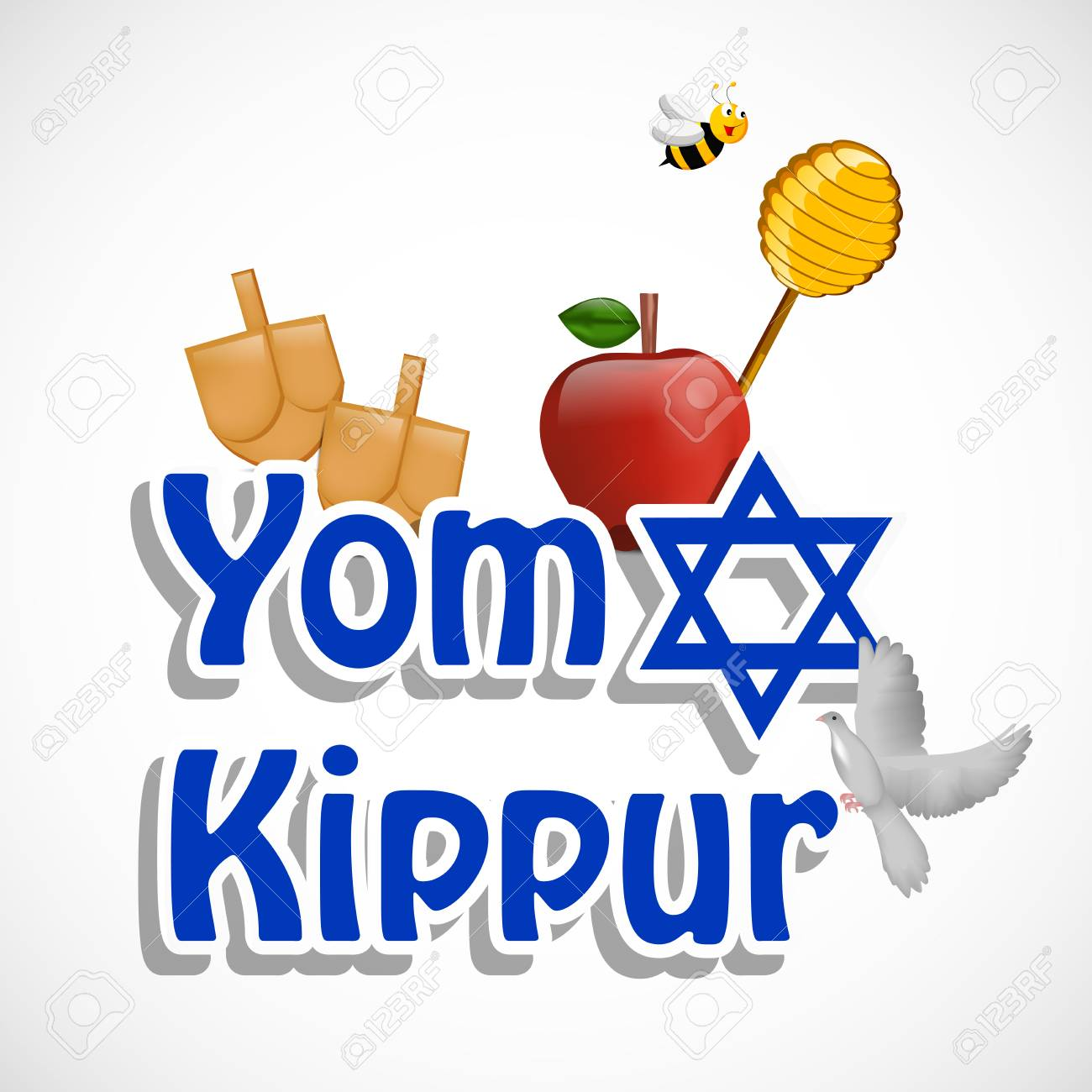 illustration of elements jewish yom kippur background.