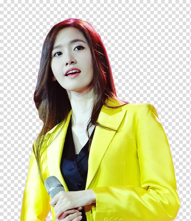 Yoona SNSD, woman wearing yellow coat holding microphone.