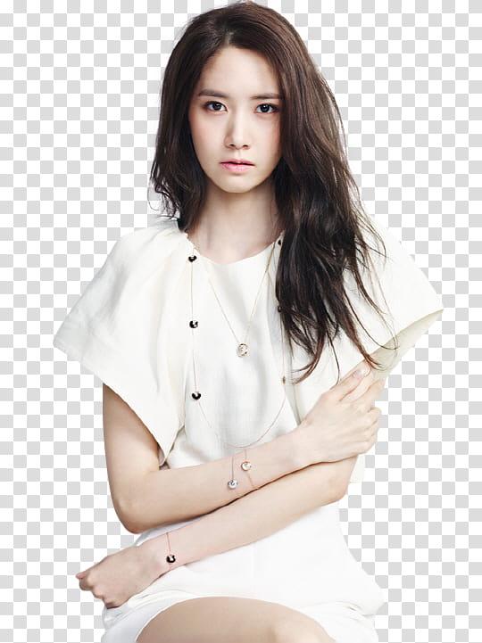 Render Yoona SNSD, woman wearing white dress transparent.