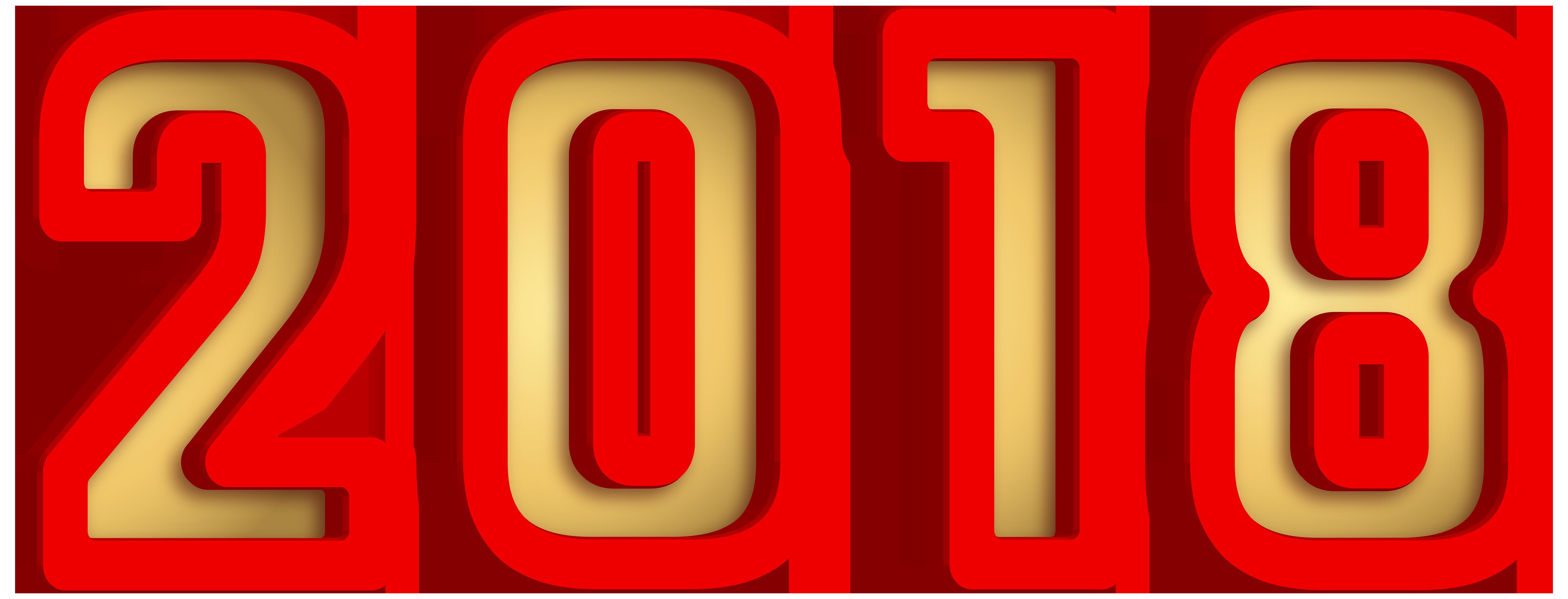 2018 Gold Red Transparent PNG Clip Art.