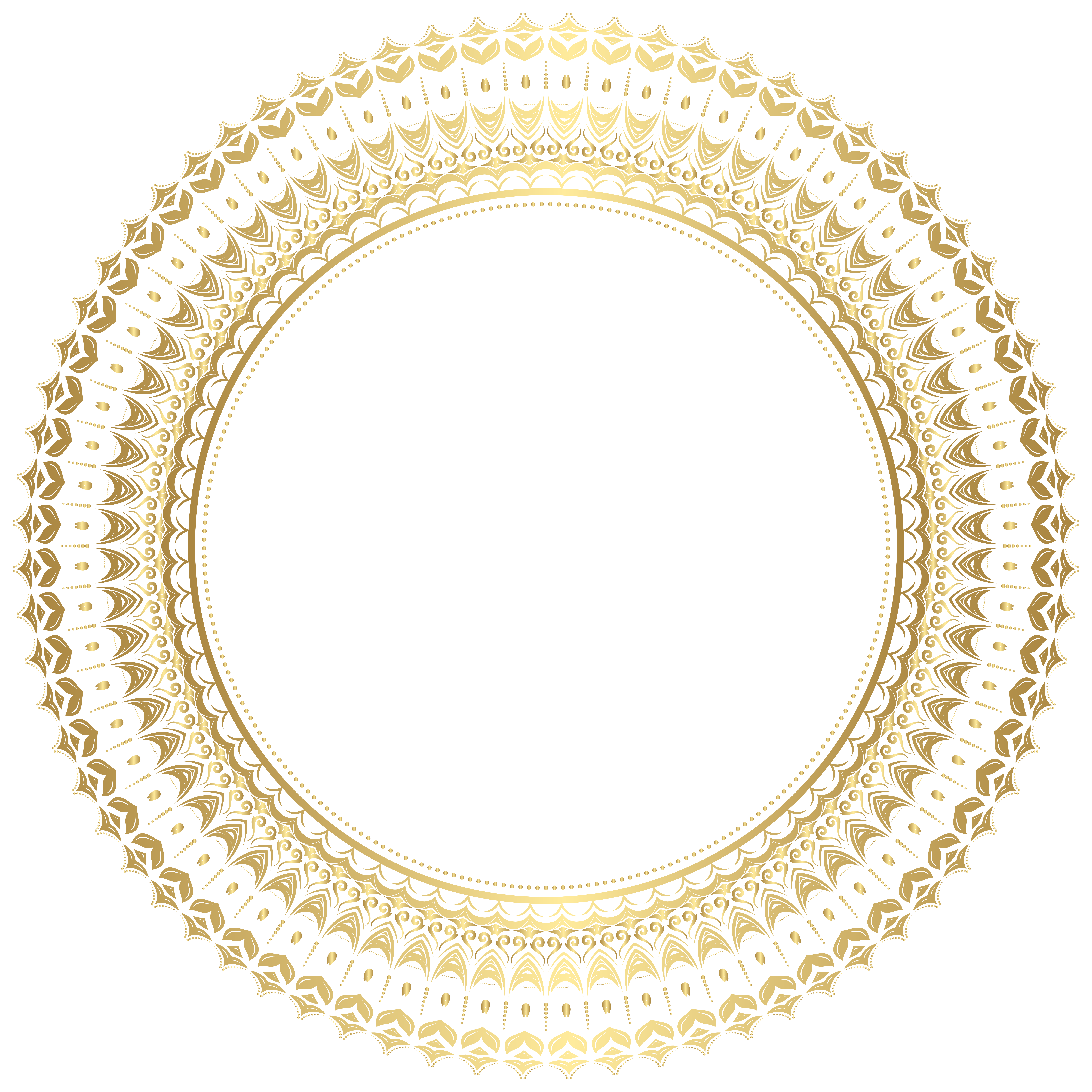 Round Gold Border Frame PNG Clip Art.