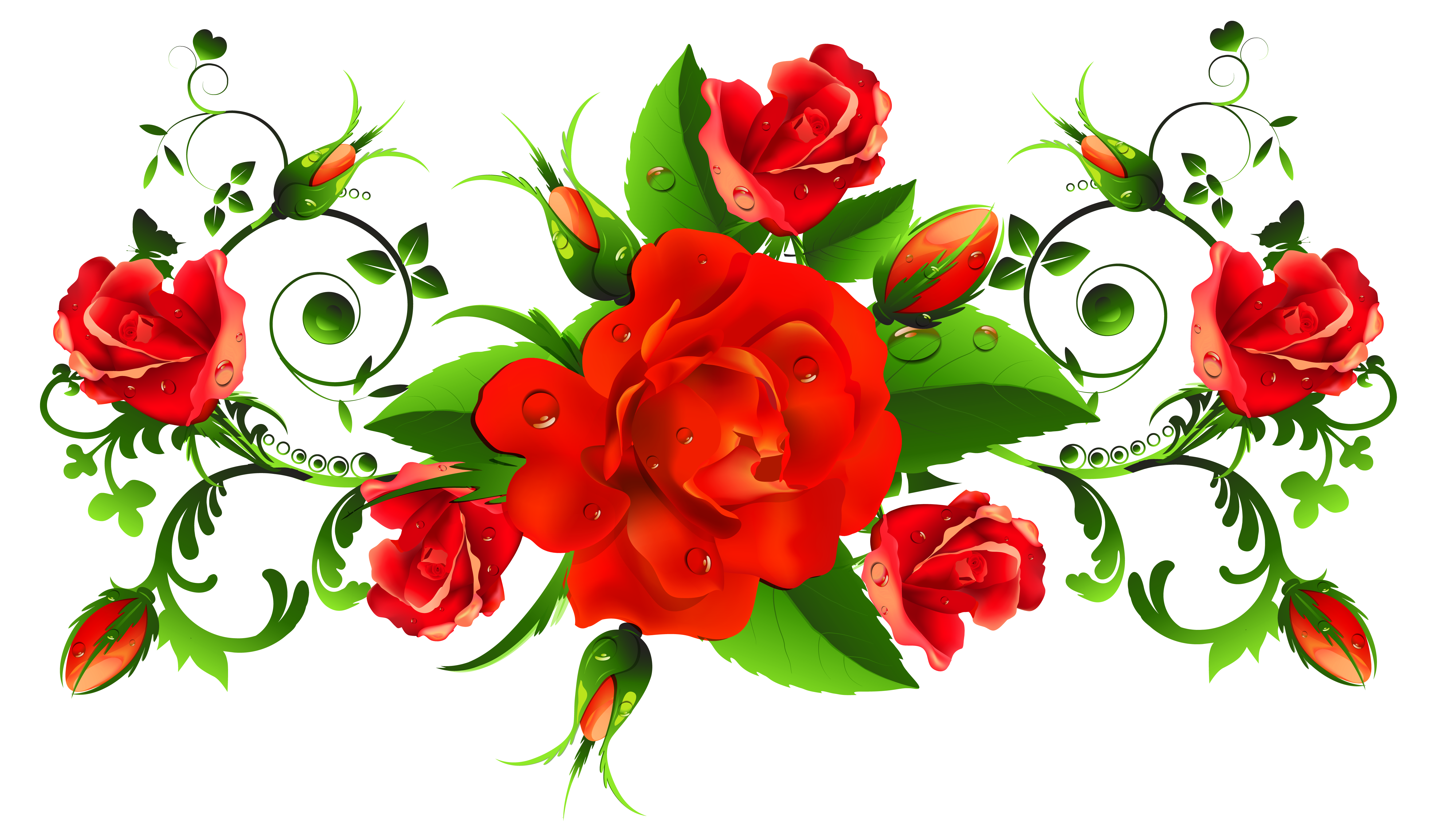 Red Roses Decor PNG Picture.