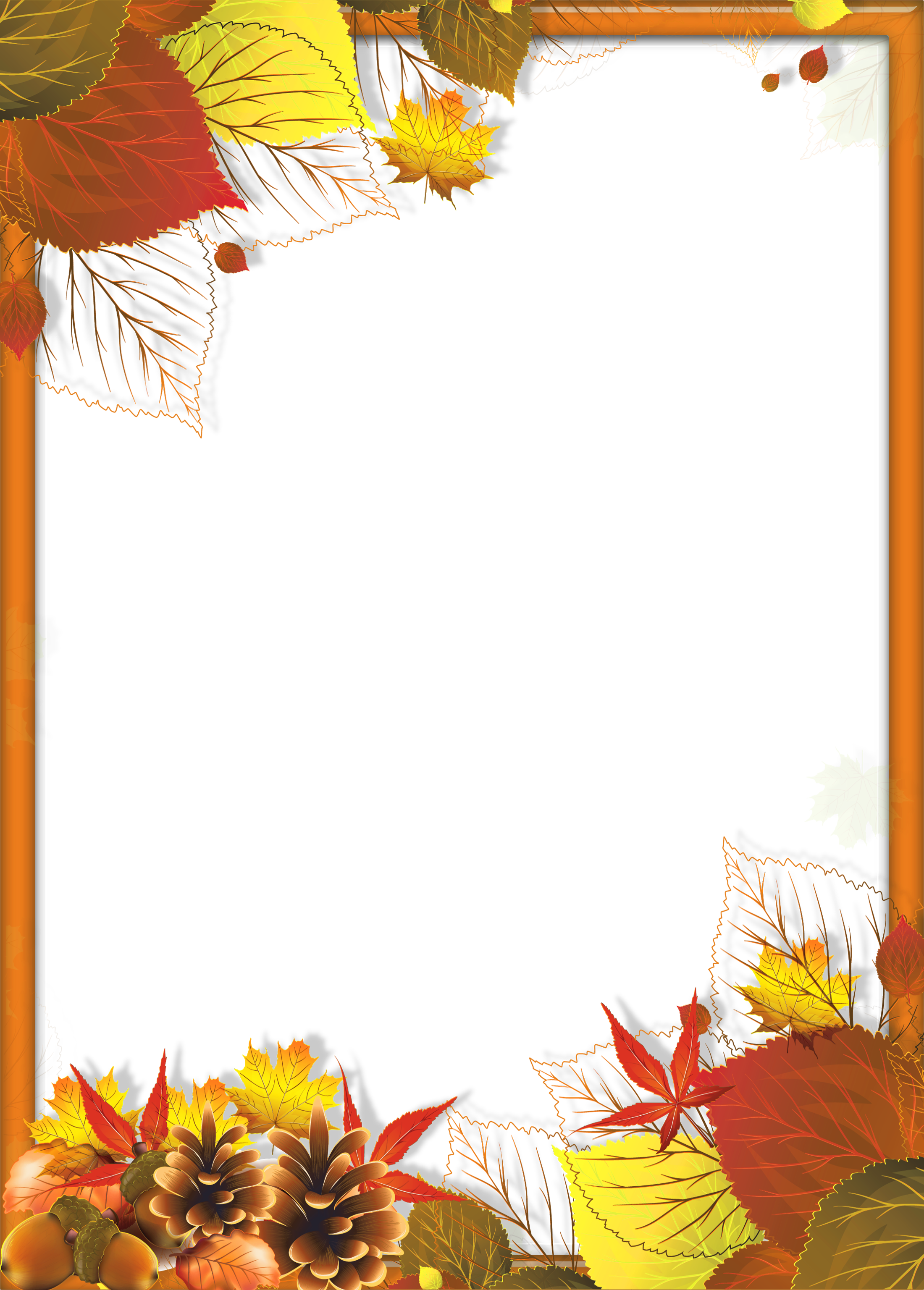 Transparent Fall PNG Frame with Leaves.