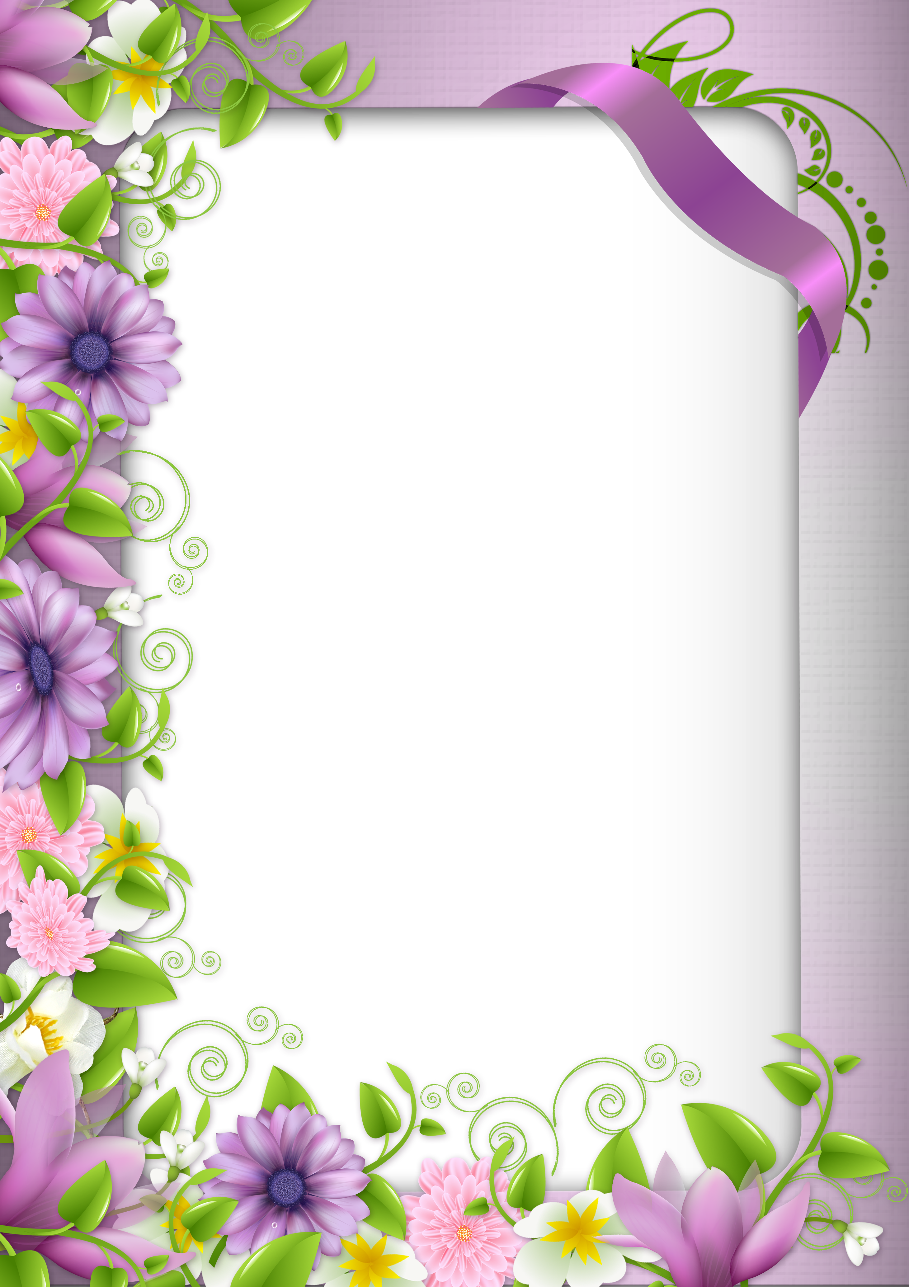 Transparent PNG Photo Frame with Purple Flowers.
