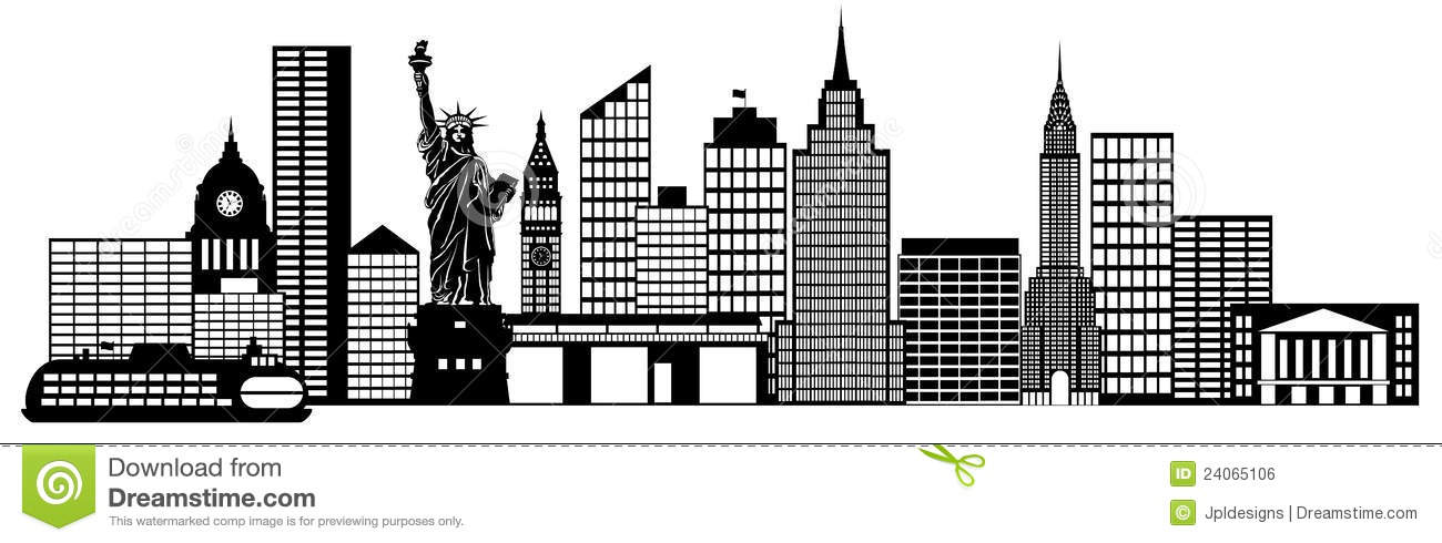 New York City Skyline Panorama Clip Art Royalty Free Stock Image.