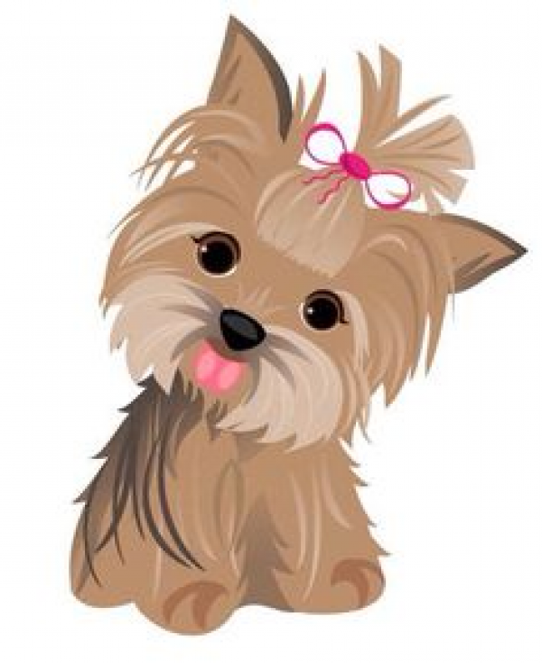 Watercolor yorkshire terrier set. Yorkie clipart clip art.