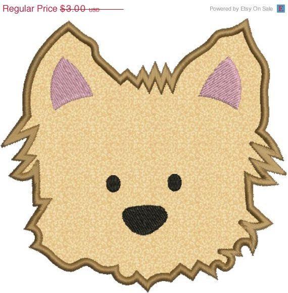 Yorkie Puppy Dog Face Applique Machine Embroidery Designs 2.
