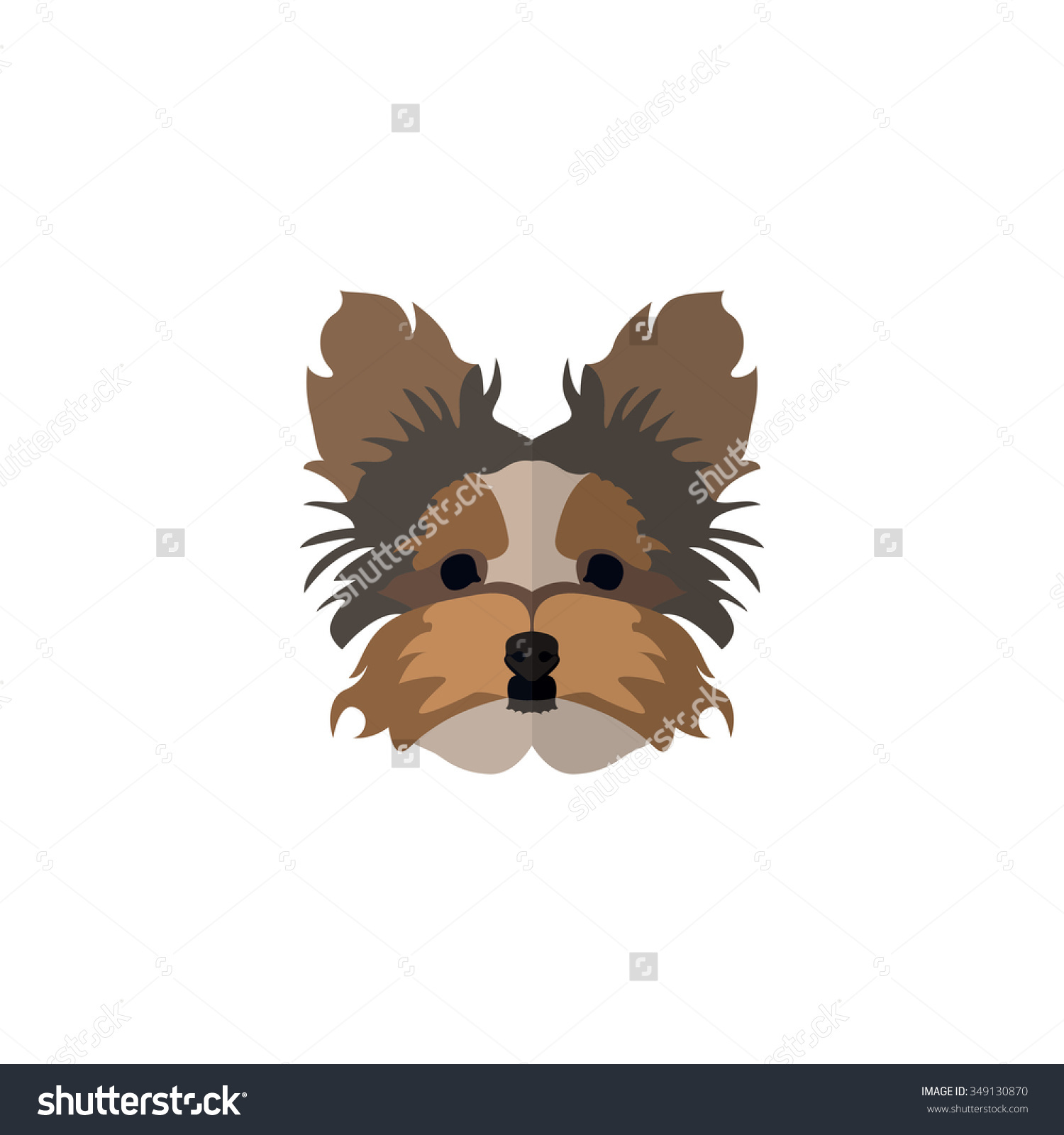 Dog Face Flat Style Yorkshire Terrier Stock Vector 349130870.