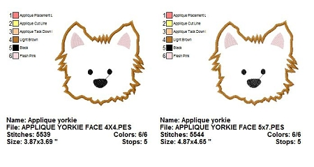 Yorkie Puppy Dog Face Applique Machine Embroidery Designs 2 Sizes.
