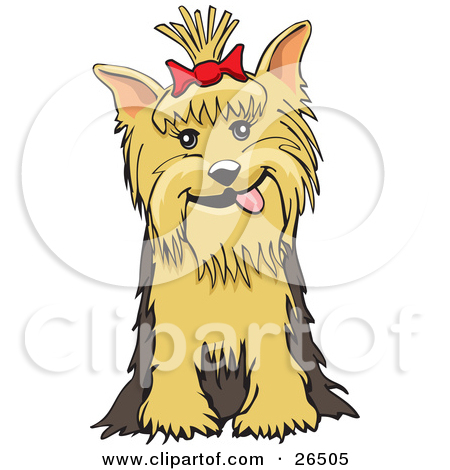 Clipart Illustration of a Friendly Yorkshire Terrier Dog With A.