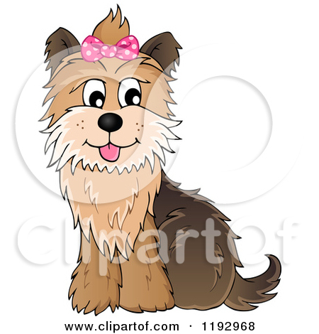 Cartoon of a Happy Yorkie Terrier Sitting, with a Pink Bow on Its.