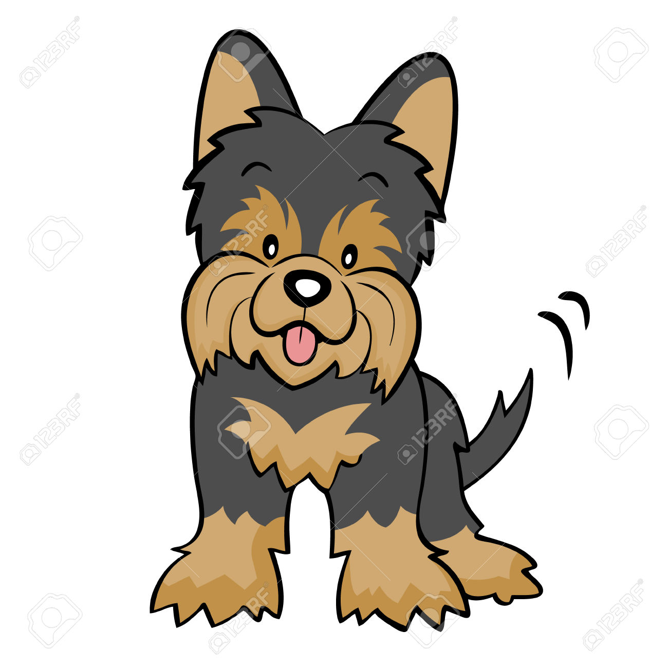 Golddust yorkshire terrier clipart.