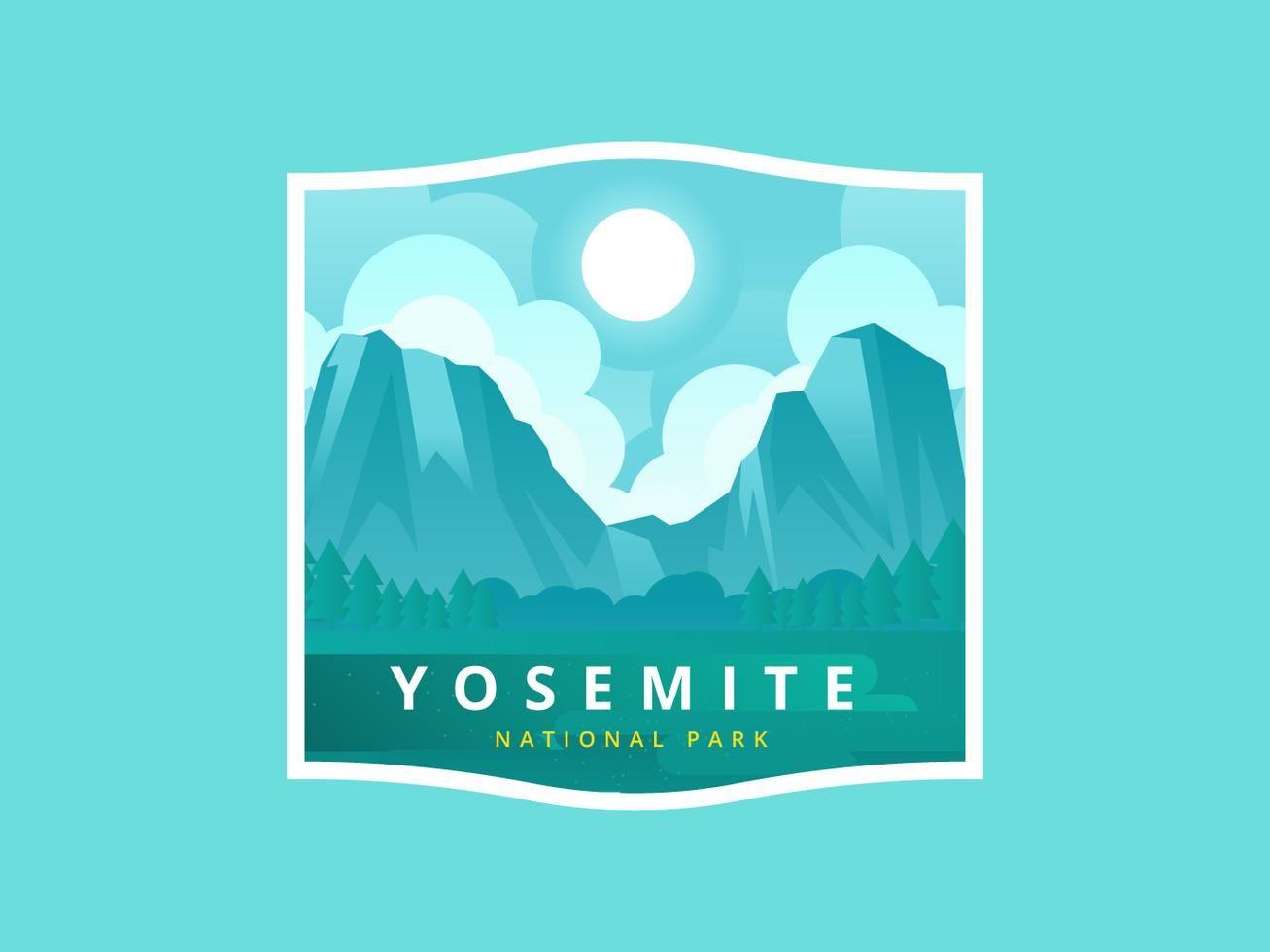 Yosemite National Park Vector Illustration.