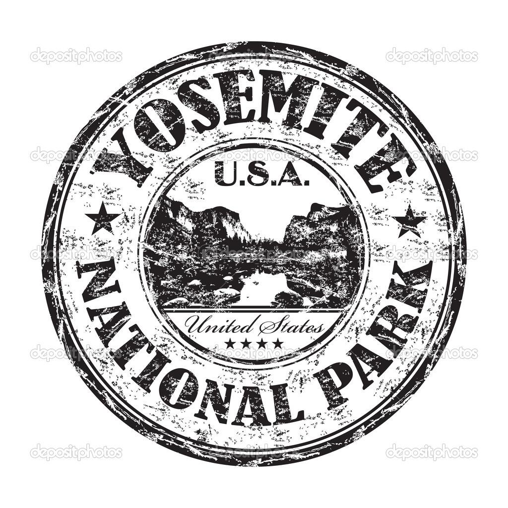 Yosemite National Park grunge rubber stamp — Stock Vector © oxlock.