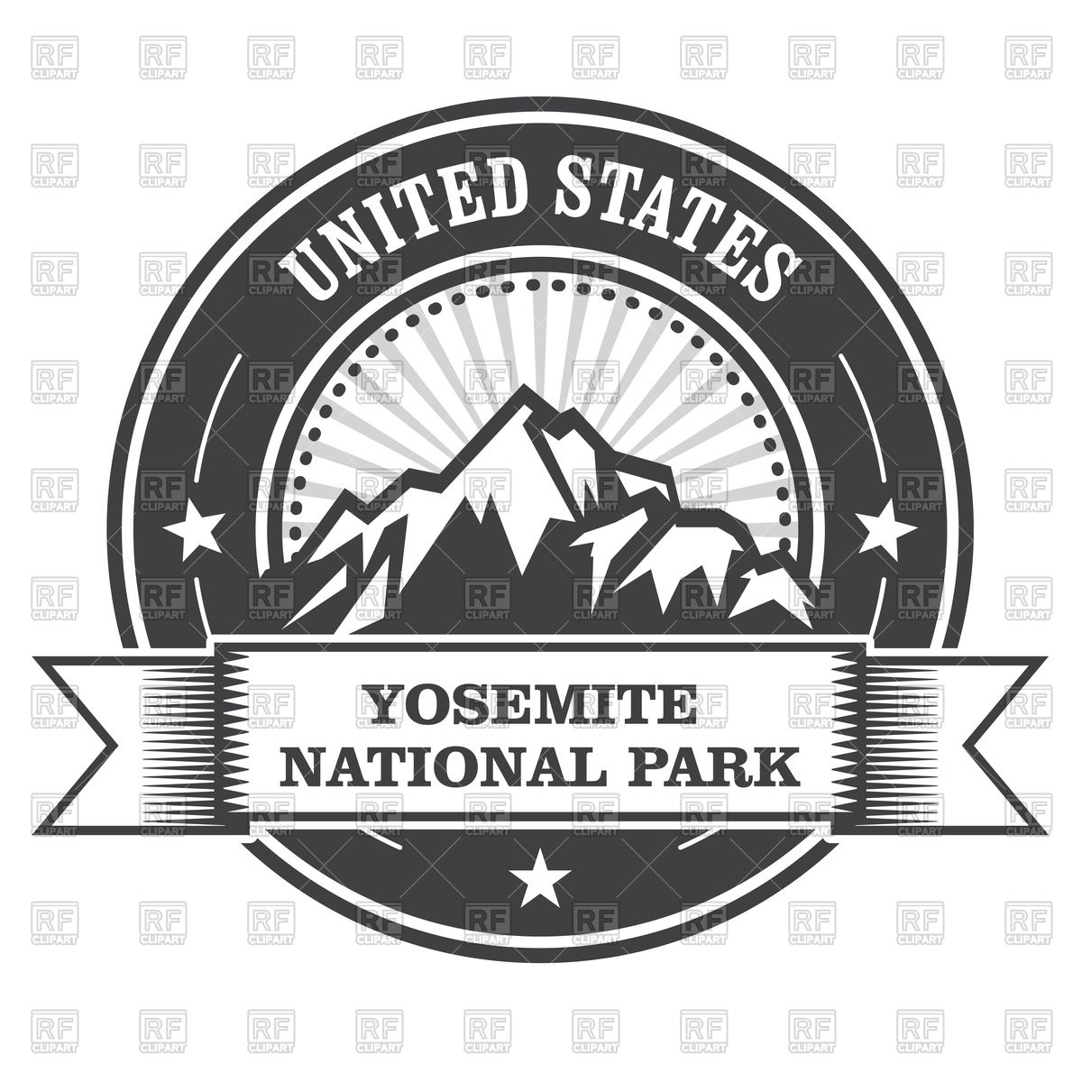 Yosemite National Park round stamp with mountains Vector Image.