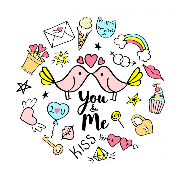 You and me lettering with girly doodles for valentines day.