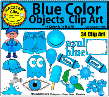 Blue Color Objects Clip Art English & Spanish Personal and Commercial Use.