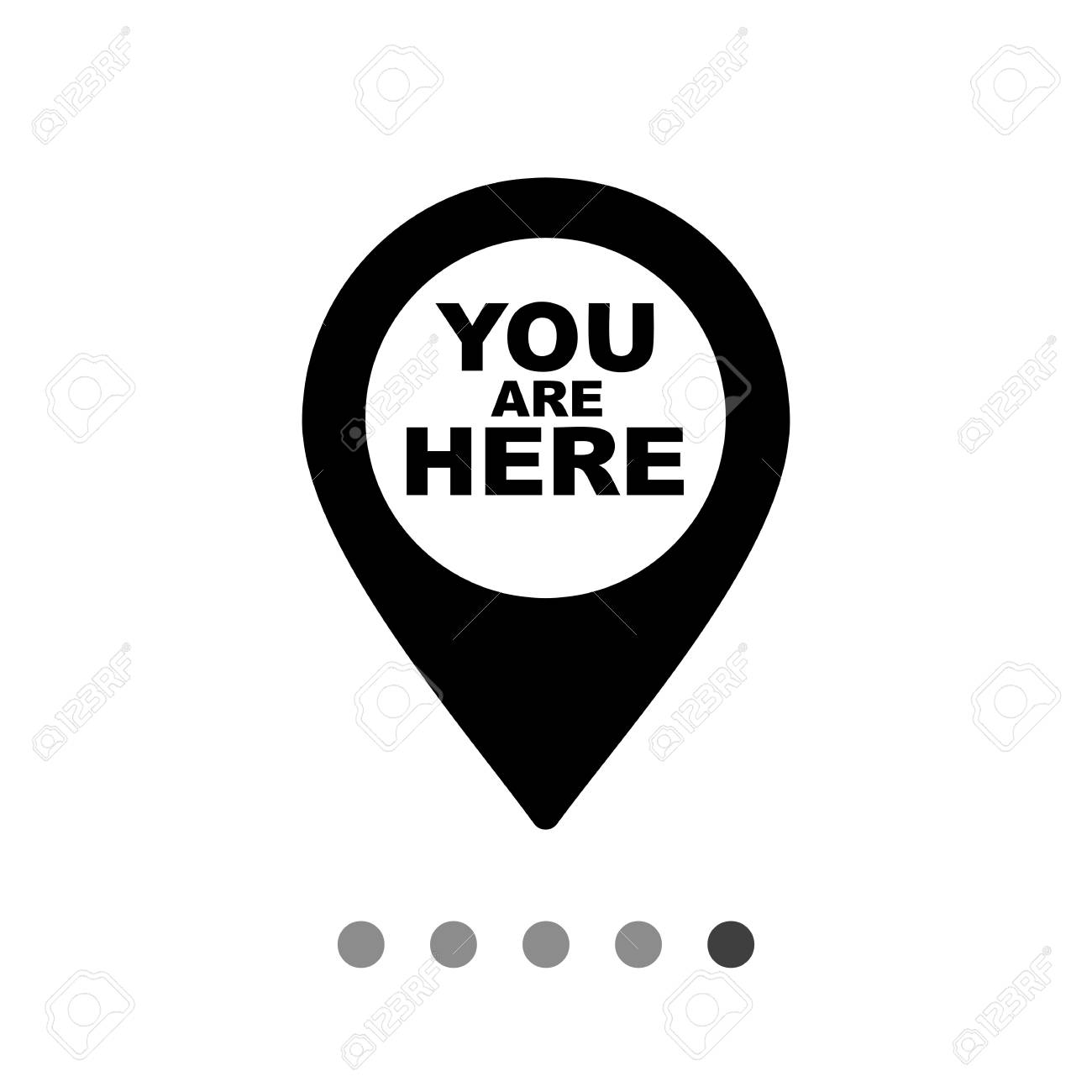 Monochrome vector icon of you are here map pointer.