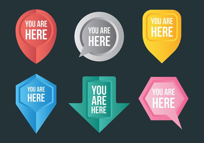 Free You Are Here Icons Vector.