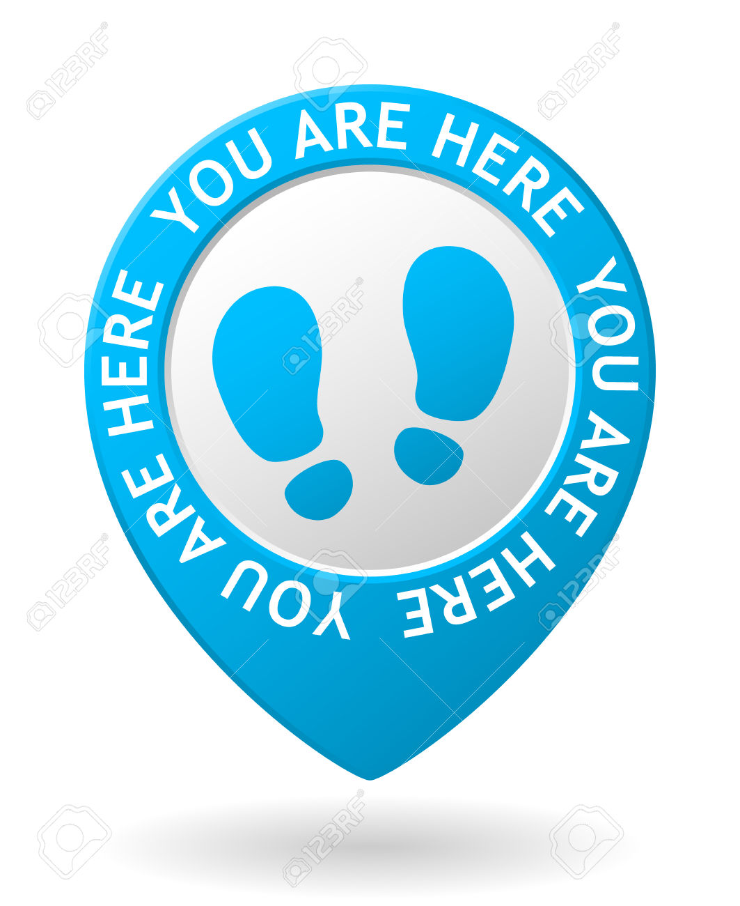 Vector Blue Map Pointer With You Are Here Icon Royalty Free.
