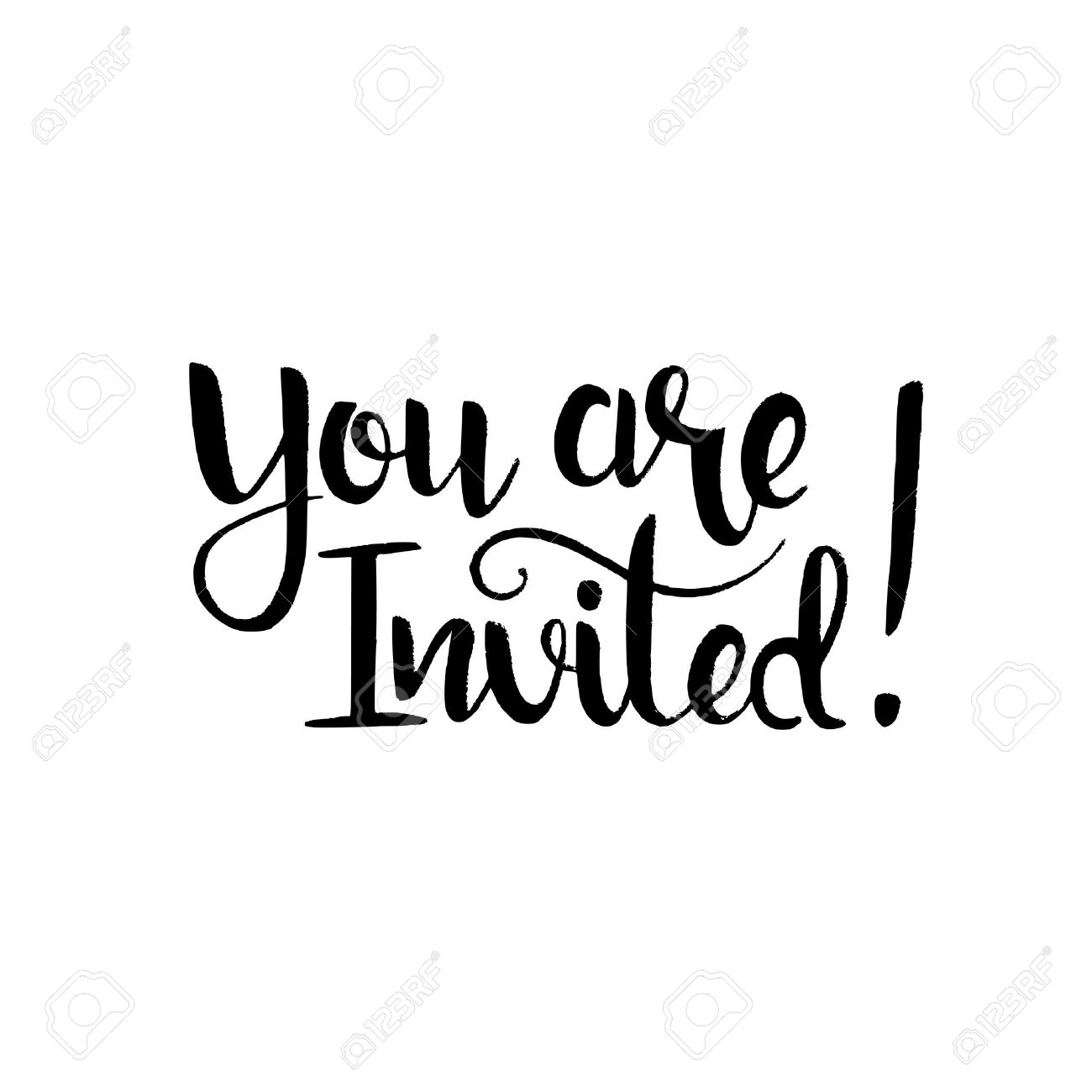 You are invited handwritten lettering. Modern vector hand drawn...