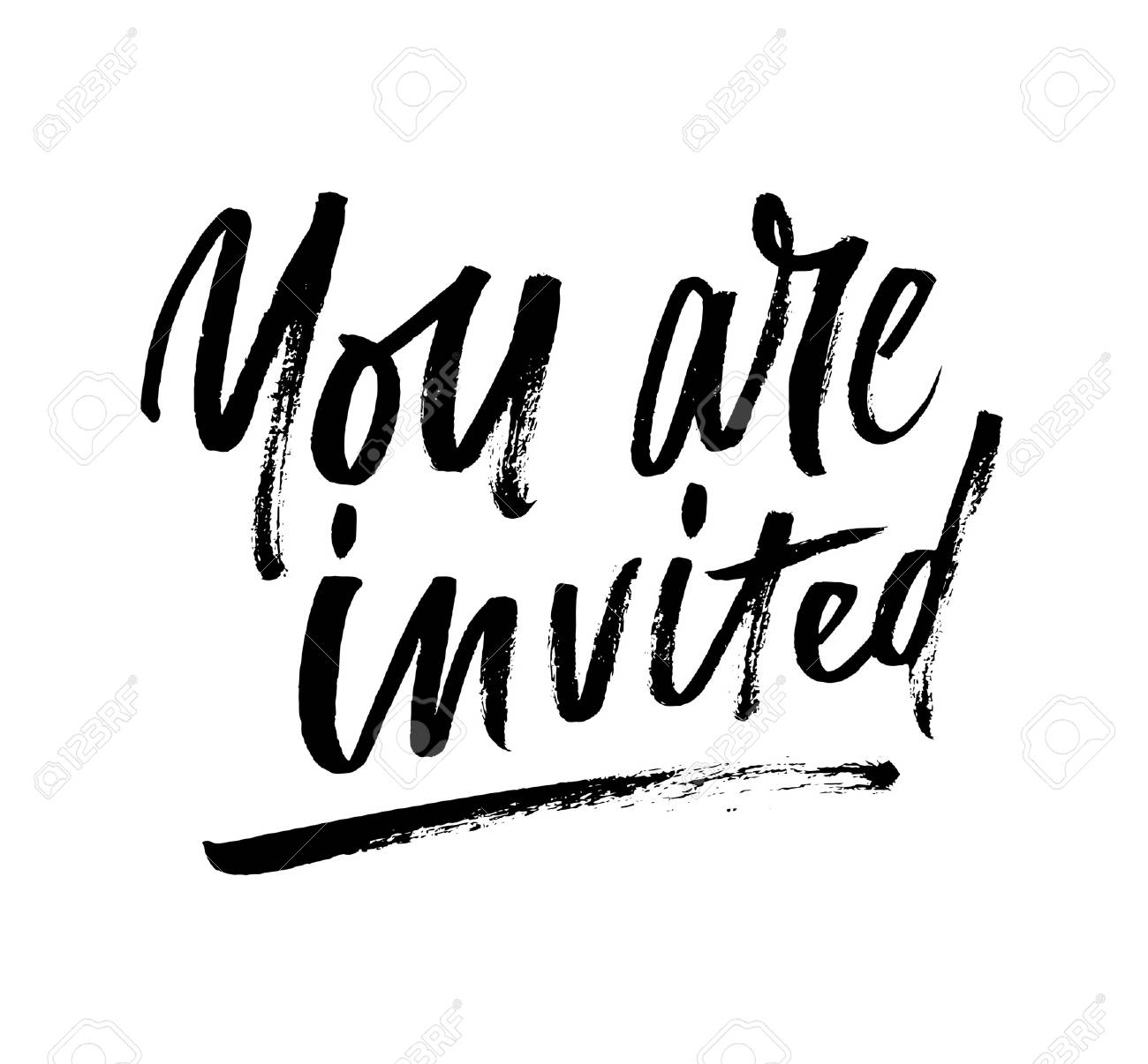 You are invited brush lettering invitation. Modern calligraphy...