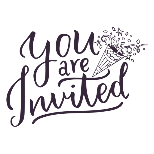 You are invited lettering.