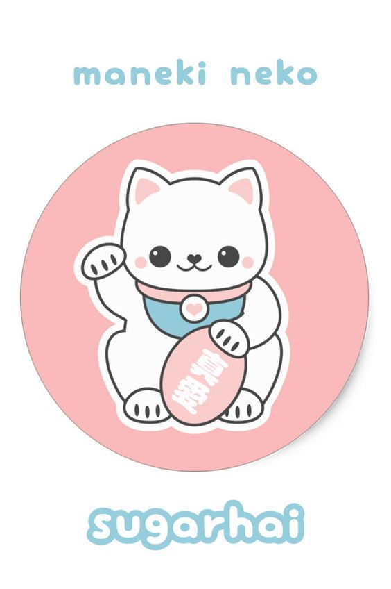 Super cute pink beckoning cat stickers for good luck in love.