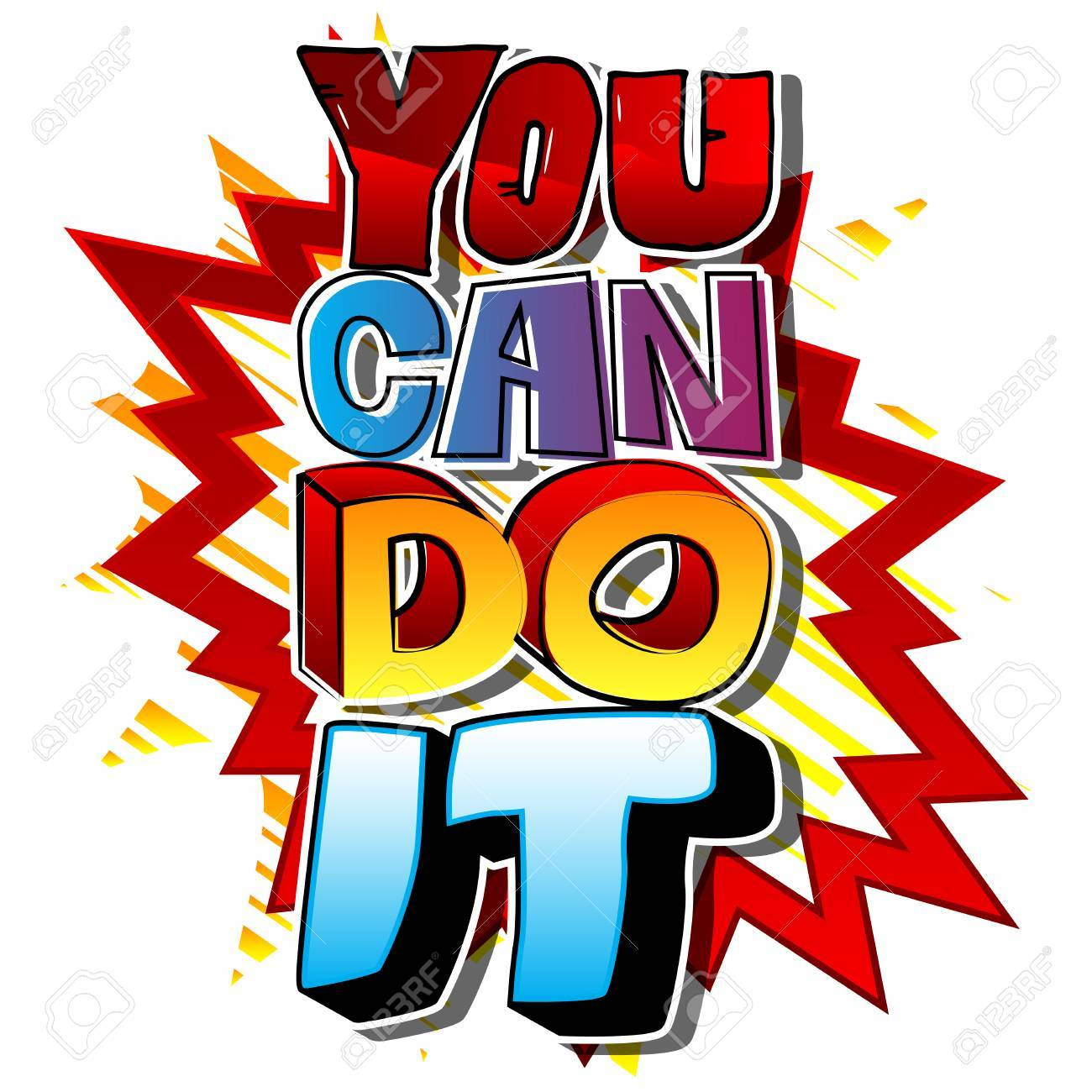 You Can Do It. Vector illustrated comic book style design. Inspirational,...