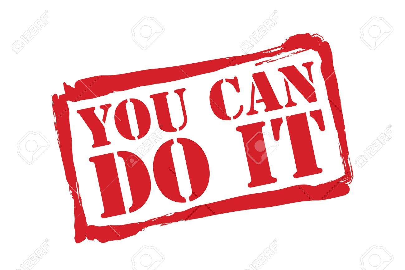 YOU CAN DO IT red rubber stamp over a white background..