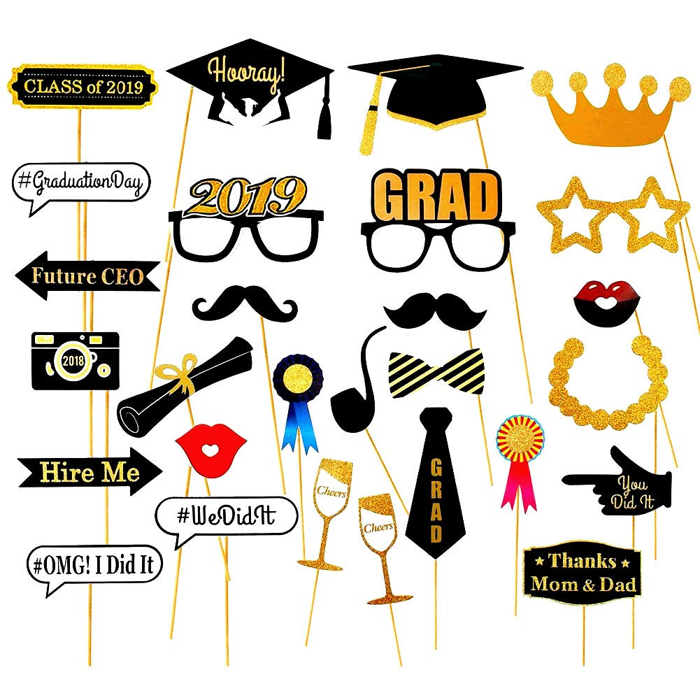 Pack of 28 2019 Graduation Photo Booth Props Glitter Large Graduation  Photos Prop Class of 2019 Grad Decor with Sticks for Graduate Party Favors.