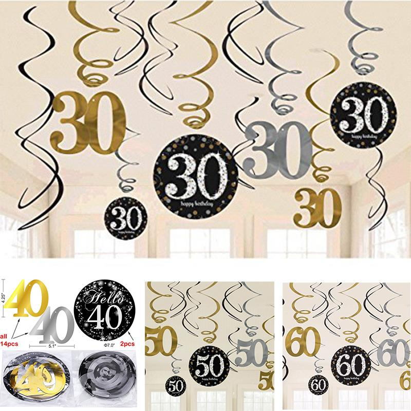 Glitter 30 /40 /50 /60 Th Birthday Hanging Swirls Decorations Foil Danglers  Spiral Adults Birthday Anniversary Party Decorations.