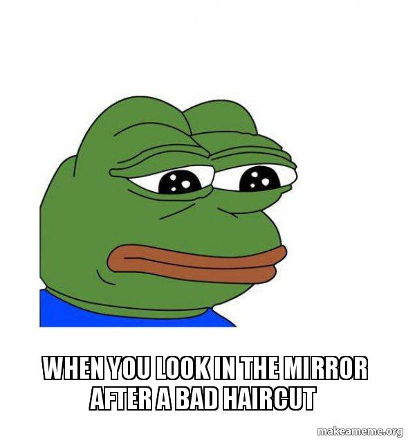 when you look in the mirror after a bad haircut.