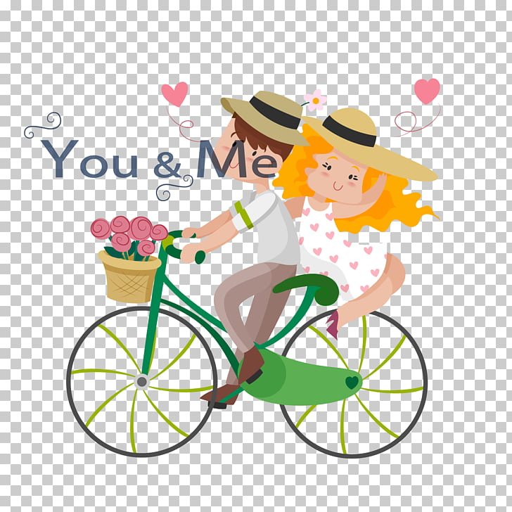 Drawing couple Bicycle Illustration, Cartoon ride couple.