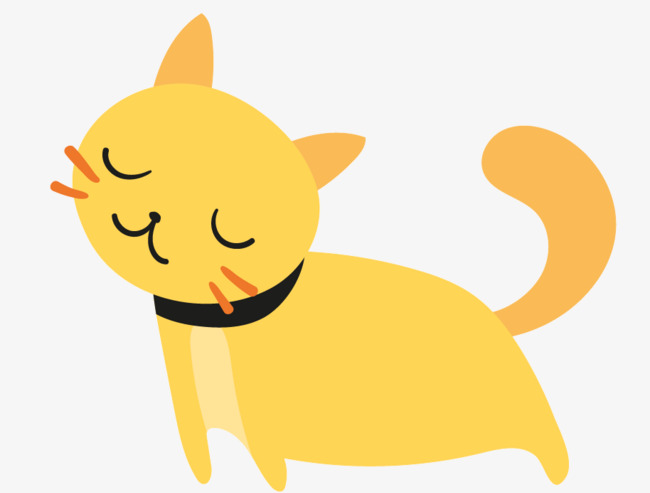 Lazy Cat, Cat Clipart, Yellow, Cartoon P #107444.