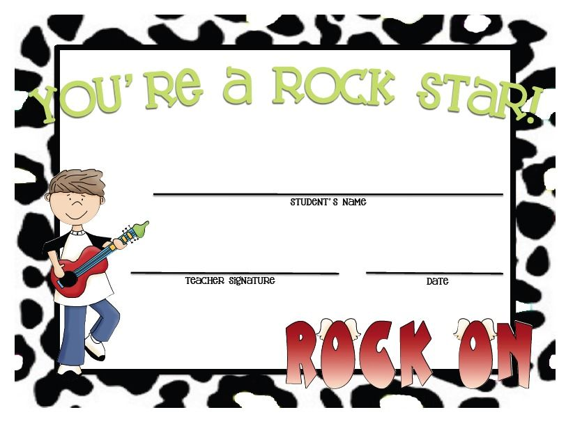 creating & teaching: Rock Star Certificates! Cute for kids.