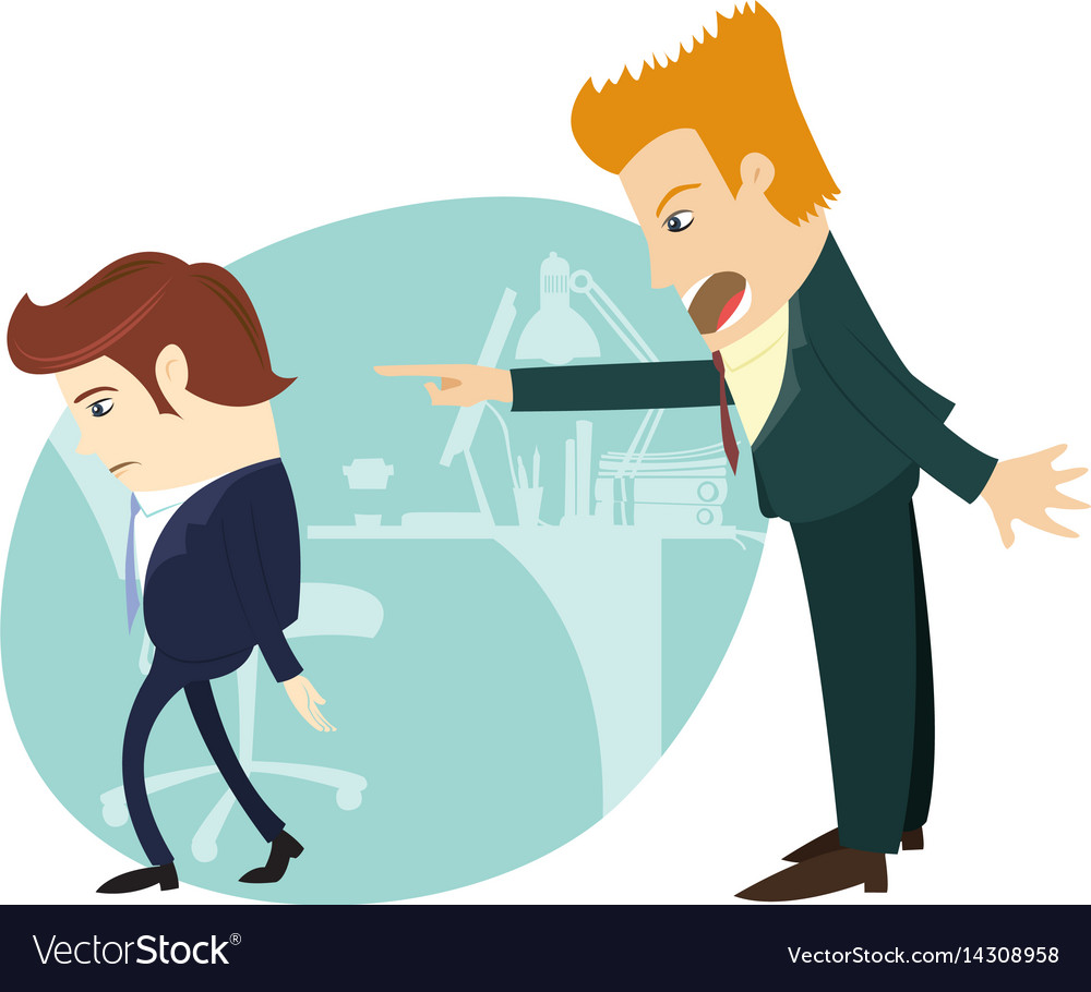 You are fired angry businessman screaming and.