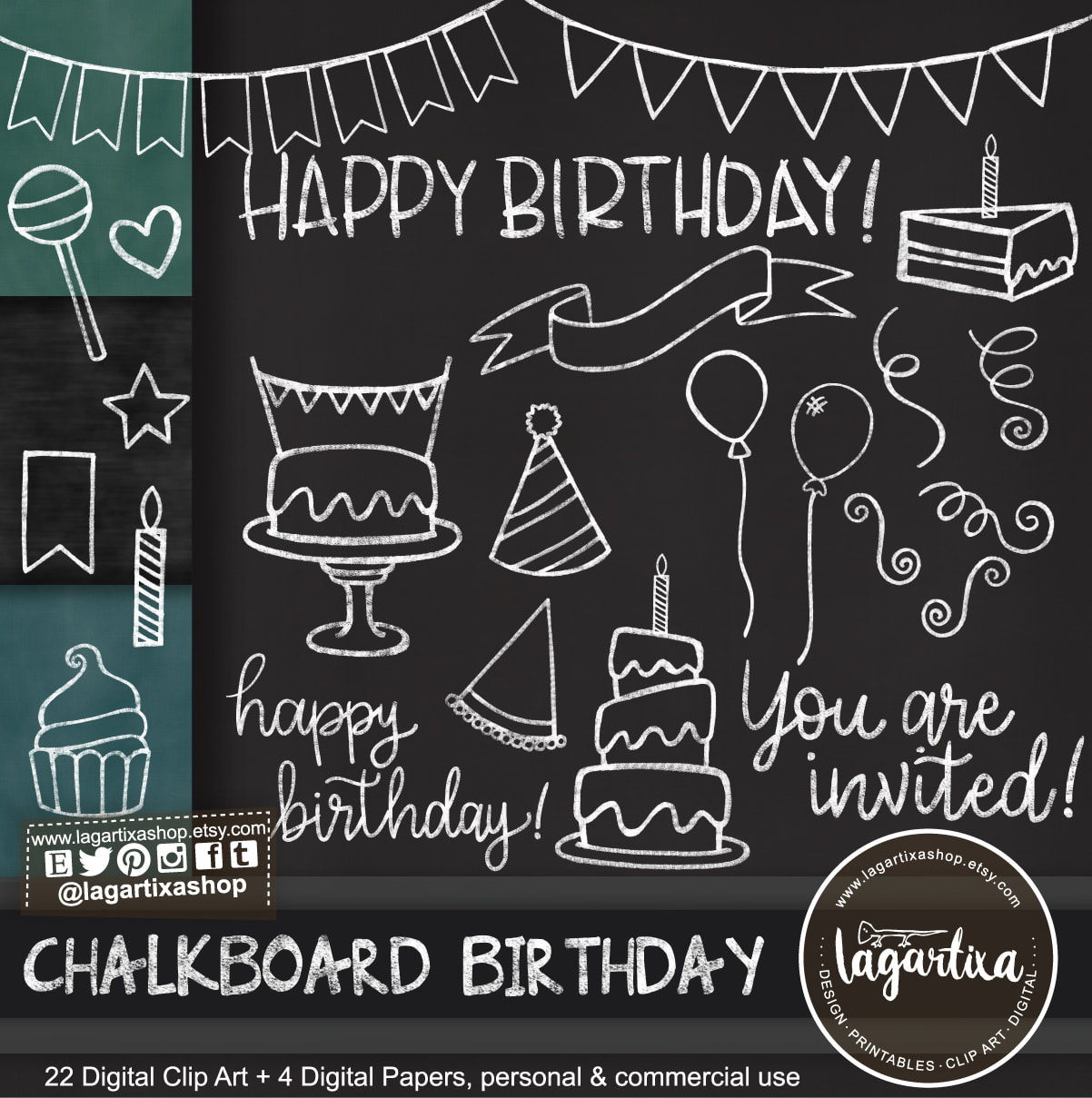 Chalkboard Birthday Party Clip art & Digital Paper Green Black Cake Party  Hat Banner Balloons Cupcake Ribbons invitations party printables.
