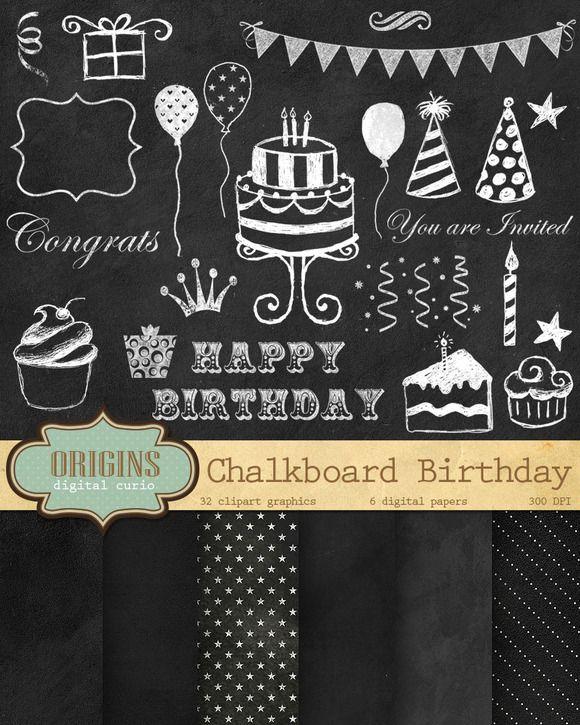 Chalkboard Birthday Clipart by Origins Digital Curio on.