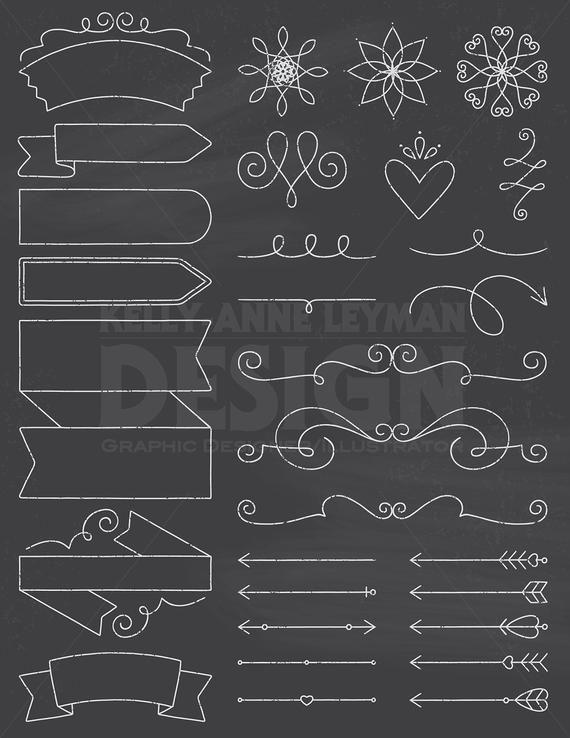 Chalkboard Doodle DIY Invitation Clipart, Design Elements.