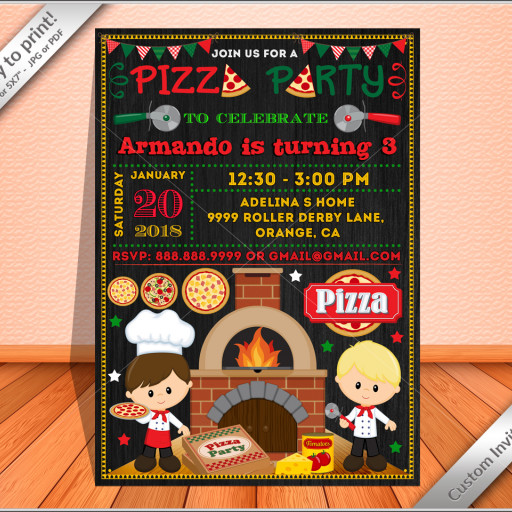 Pizza party invitation Chalkboard, Pizza party Birthday invite for boy.
