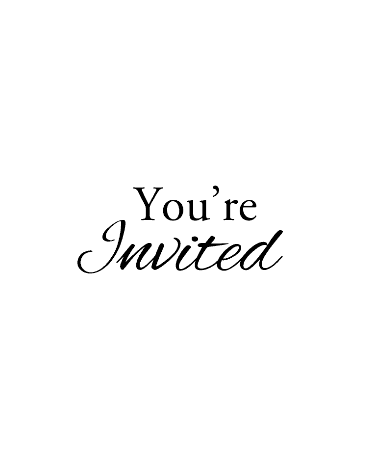 You're Invited Wood Mount Stamp D4.