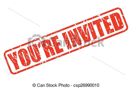 You are invited red stamp text.