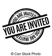 You are invited rubber stamp. grunge design with dust scratches.