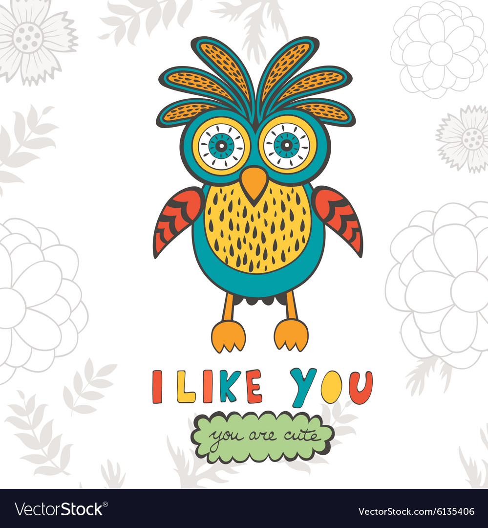 I like you you are so cute Colorful concept card.