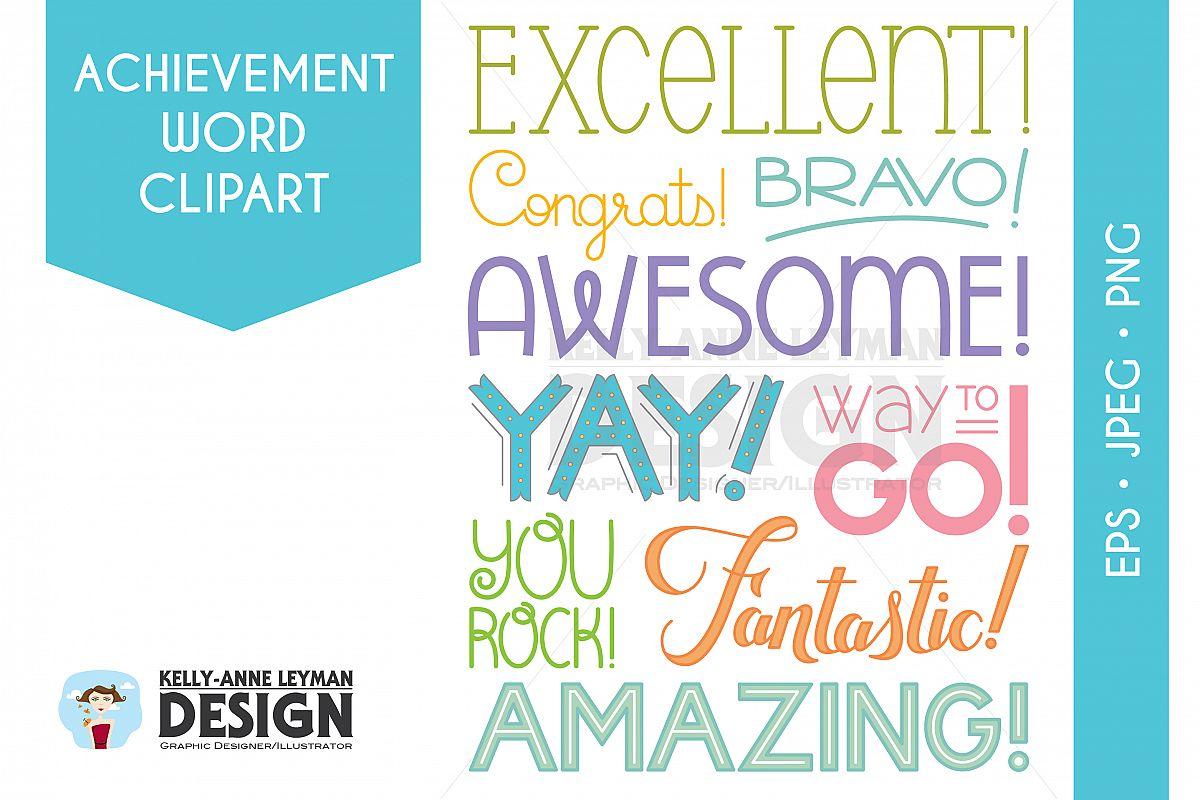 Achievement Word Clipart, Encouragement Typography Overlay.